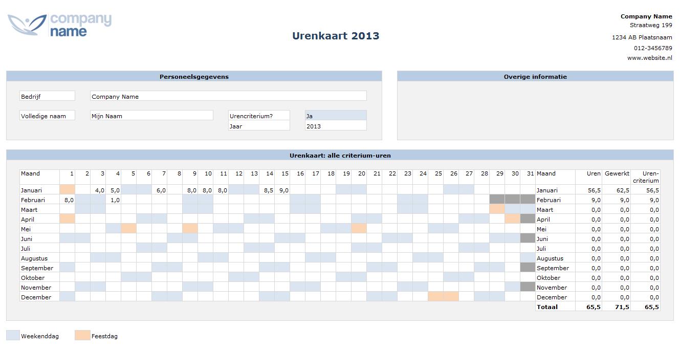 Urenregistratie in Excel - Urenkaart per jaar