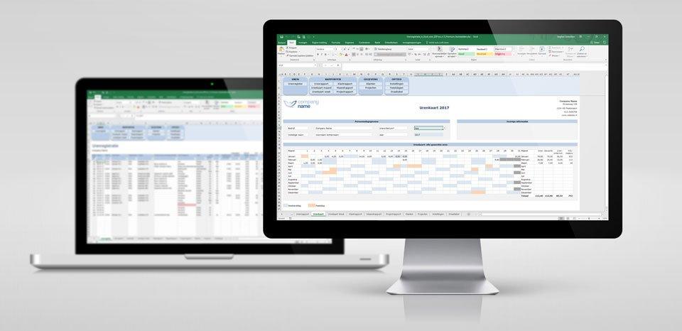 Urenregistratie in Excel Premium Edition Voorbeeld op scherm