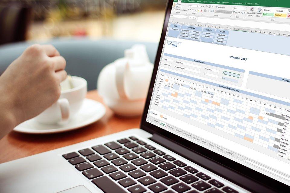 Urenregistratie bij de koffie is zo gepiept met Urenregistratie in Excel Premium Edition