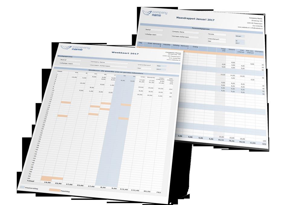 Urenregistratie in Excel Premium Edition Rapportage Voorbeelden